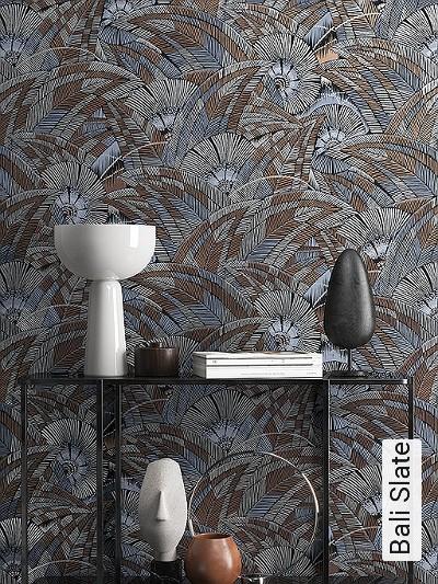 Bali-Slate-Blätter-Florale-Muster-Blau-Silber-Braun-Schwarz-Bronze
