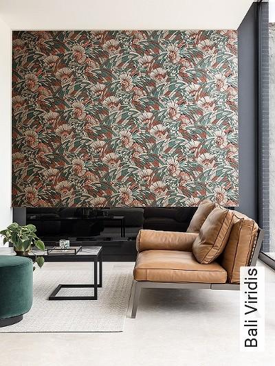 Bali-Viridis-Blätter-Florale-Muster-Grün-Braun-Schwarz-Bronze