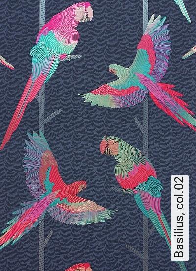 Basilius,-col.02-Vögel-Federn-Fauna-Blau-Silber-Türkis-Schwarz-Pink