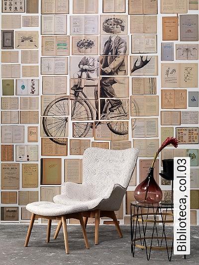 Biblioteca,-col.03-Figuren-Bücher-Zeichnungen-Moderne-Muster-Braun-Anthrazit-Weiß-Ocker