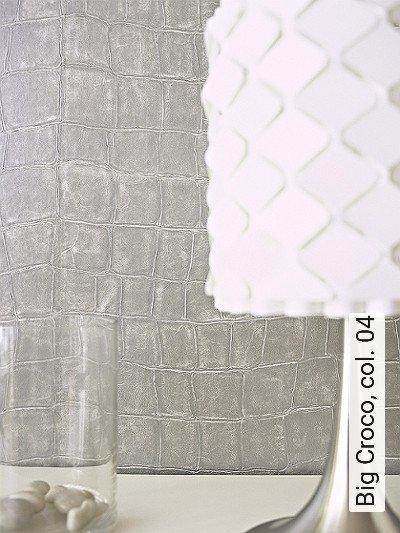 Big-Croco,-col.-04-Tierhaut-Leder-Moderne-Muster-Silber-Grau