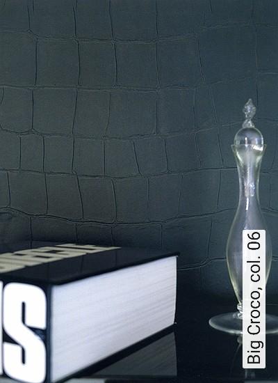 Big-Croco,-col.-06-Tierhaut-Leder-Moderne-Muster-Anthrazit-Schwarz