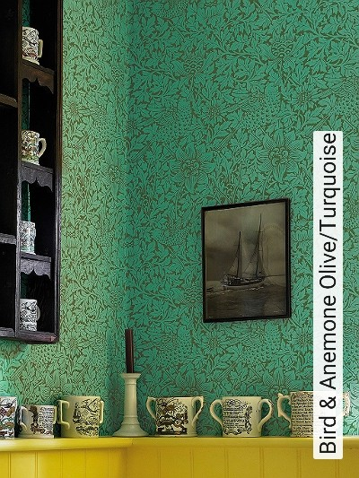 Bird-&-Anemone-Olive/Turquoise-Blumen-Tiere-Blätter-Vögel-Klassische-Muster-Fauna-Florale-Muster-Grün-Türkis