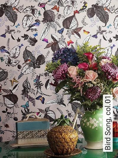 Bird-Song,-col.01-Blumen-Tiere-Blätter-Florale-Muster-Moderne-Muster