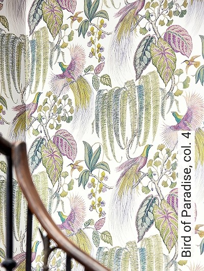 Bird-of-Paradise,-col.-4-Blumen-Tiere-Blätter-Vögel-Fauna-Florale-Muster-Multicolor