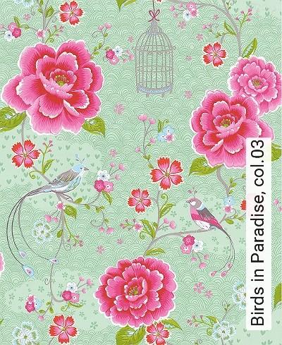 Birds-in-Paradise,-col.03-Blumen-Vögel-Florale-Muster-Hellgrün-Multicolor