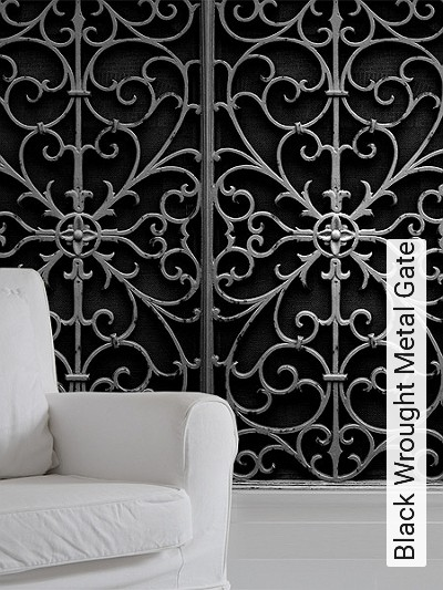 Black-Wrought-Metal-Gate-Gitter-3D-Tapeten-tromp-l