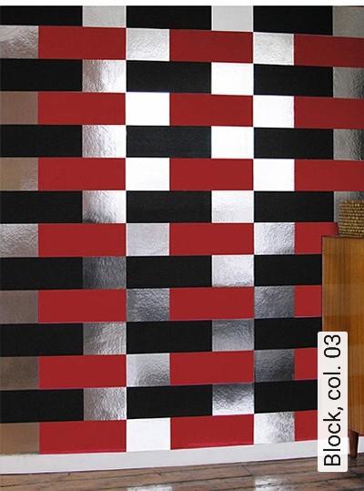 Block,-col.-03-Streifen-Grafische-Muster-Bauhaus-Rot-Silber-Schwarz