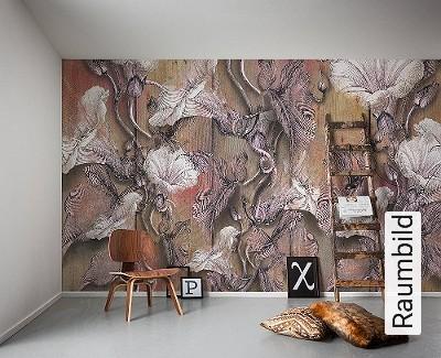 Bloomin-Bäume-FotoTapeten-Braun-Weiß-Ocker-Flieder