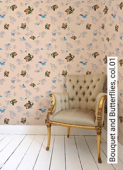 Bouquet-and-Butterflies,-col.01-Blumen-Tiere-Blätter-Figuren-Vögel-Moderne-Muster-Multicolor