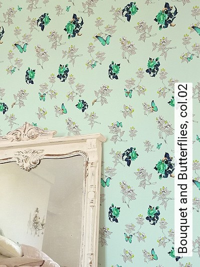 Bouquet-and-Butterflies,-col.02-Blumen-Tiere-Blätter-Figuren-Vögel-Moderne-Muster-Multicolor-mint