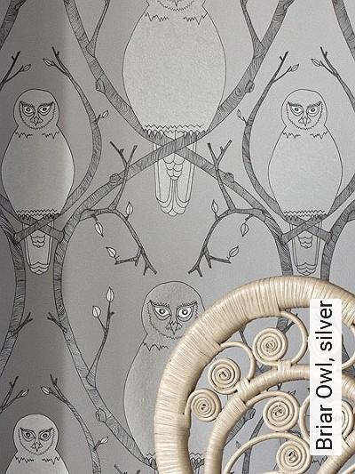 Briar-Owl,-silver-Tiere-Fauna-Moderne-Muster-Silber-Grau-Anthrazit