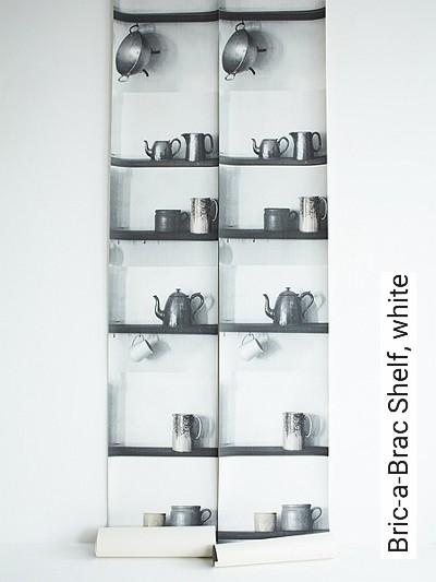 Bric-a-Brac-Shelf,-white-Gegenstände-Moderne-Muster-Schwarz-Weiß