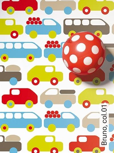 Bruno,-col.01-Fahrzeuge-KinderTapeten-Weiß-Multicolor
