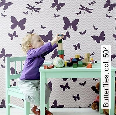 Butterflies,-col.-504-Bögen-Tiere-Fauna-KinderTapeten-Lila-Rosa