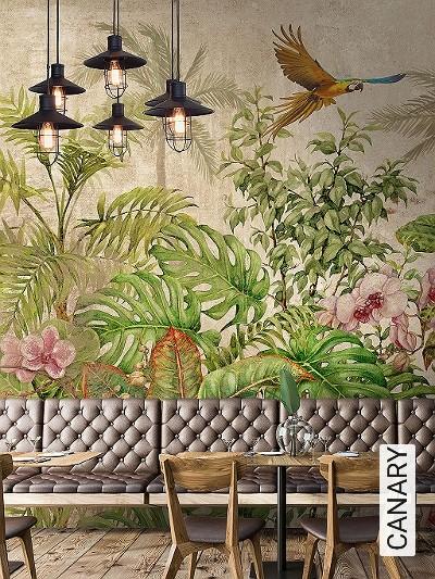 CANARY-Blumen-Tiere-Bäume-Blätter-Vögel-Florale-Muster-FotoTapeten-Multicolor