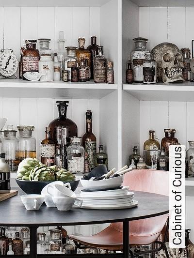 Cabinet-of-Curious-Flaschen-Gegenstände-3D-Tapeten-tromp-l