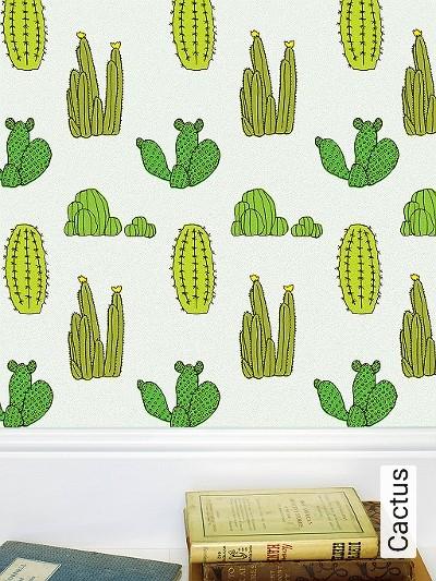 Cactus-Blumen-Moderne-Muster-KinderTapeten-Grün-Schwarz-Hellgrün-Weiß