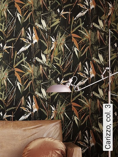 Carizzo,-col.-3-Blätter-Florale-Muster-Orange-Schwarz