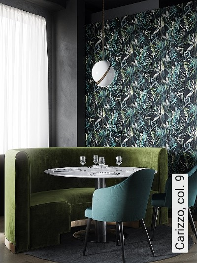 Carizzo,-col.-9-Blätter-Florale-Muster-Grün-Blau-Schwarz-Creme