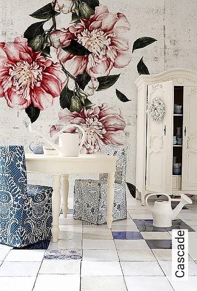 Cascade-Gegenstände-Florale-Muster-Moderne-Muster-FotoTapeten-Anthrazit
