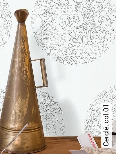 Cerclé,-col.01-Kreise-Blätter-Zeichnungen-Moderne-Muster-Schwarz-Weiß