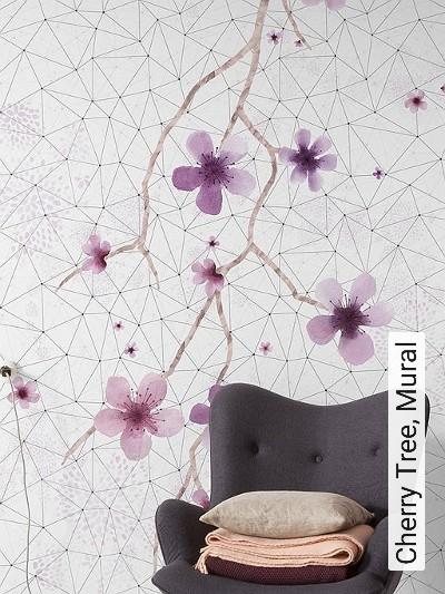Cherry-Tree,-Mural--Blumen-Linie-Dreiecke-FotoTapeten-Schwarz-Weiß-Pink