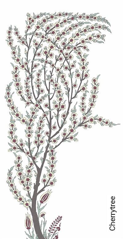 Cherrytree-Bäume-FotoTapeten-Weiß-Multicolor