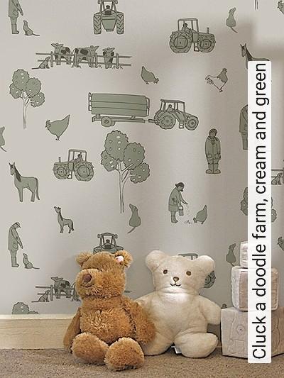 Cluck-a-doodle-farm,-cream-and-green-Tiere-Fahrzeuge-KinderTapeten-Anthrazit-Olive-Creme