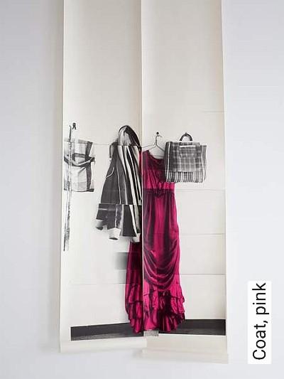 Coat,-pink-Kleidung-Moderne-Muster-Creme-Multicolor