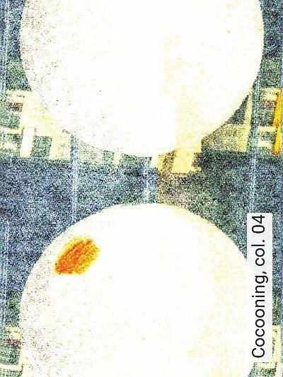Cocooning,-col.-04-Kreise-Moderne-Muster-Blau-Weiß-Ocker