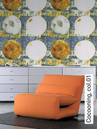 Cocooning,-col.01-Kreise-Moderne-Muster-Blau-Weiß-Ocker
