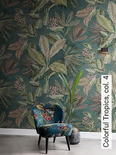 Colorful-Tropics,-col.-4-Blumen-Blätter-Früchte-Florale-Muster-FotoTapeten-Grün-Braun-Anthrazit-Creme