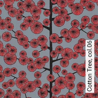 Cotton-Tree,-col.06-Kreise-Bäume-Moderne-Muster-Rot-Grau-Schwarz