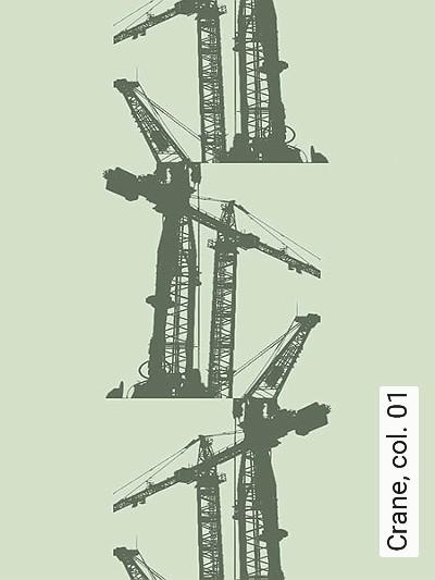 Crane,-col.-01-Kräne-Moderne-Muster-Olive-Hellgrün