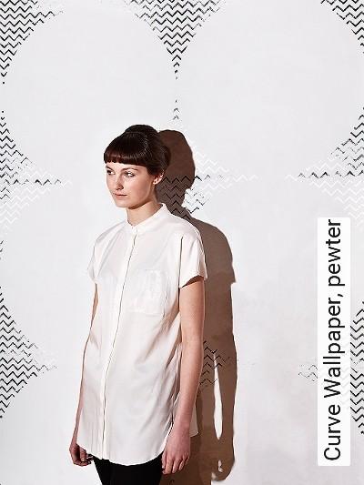 Curve-Wallpaper,-pewter-Punkte-Zickzack-Moderne-Muster-Silber-Weiß