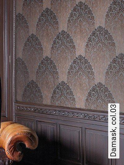 Damask,-col.03-Ornamente-Paisley-Stoff-Orientalisch-Silber-Braun-Bronze-Hellbraun