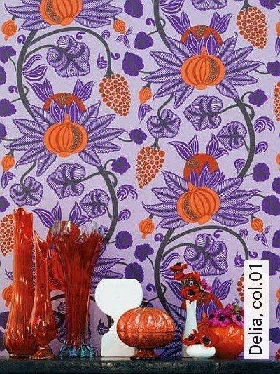 Delia,-col.01-Blumen-Florale-Muster-Moderne-Muster-Lila-Orange-Flieder