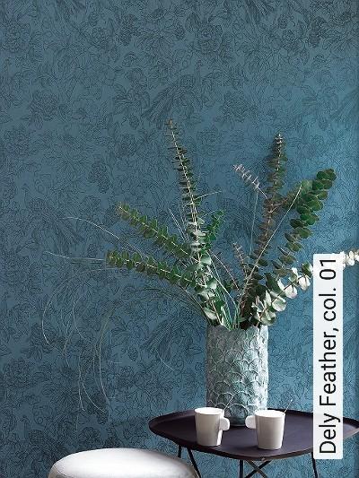 Dely-Feather,-col.-01-Blumen-Tiere-Blätter-Vögel-Fauna-Florale-Muster-petrol