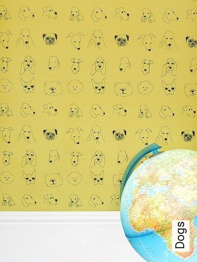Dogs-Tiere-Moderne-Muster-Schwarz-Hellgrün