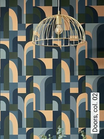 Doors,-col.-02-Gebäude-Moderne-Muster-Grün-Blau-Gold-Hellblau