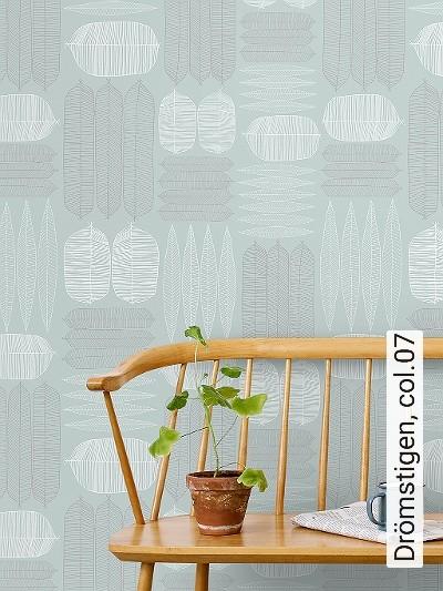 Drömstigen,-col.07-Blätter-Zeichnungen-Florale-Muster-Grün-Grau-Weiß-Perlmutt