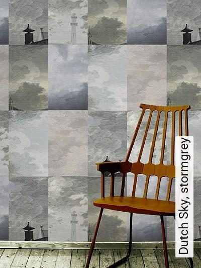 Dutch-Sky,-stormgrey-Kachel-Gebäude-Wolken-Moderne-Muster-Grün-Blau-Gold-Hellblau