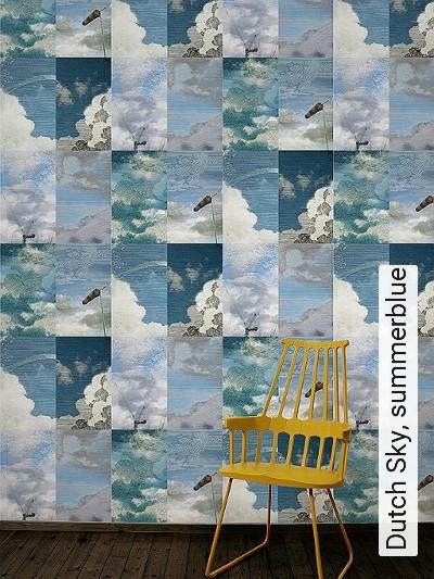 Dutch-Sky,-summerblue-Kachel-Gebäude-Wolken-Moderne-Muster-Blau-Creme-Hellblau-petrol