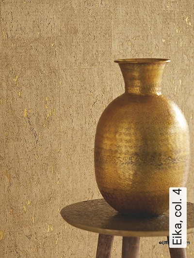 Eika,-col.-4-Kork-Textil-&-NaturTapeten-Gold-Hellbraun