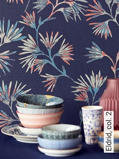 Eldrid,-col.-2-Blumen-Blätter-Florale-Muster-Blau-Bronze