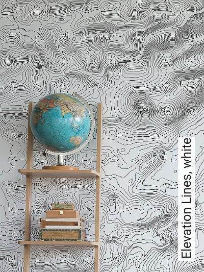 Elevation-Lines,-white-Linie-Welt-FotoTapeten-Schwarz