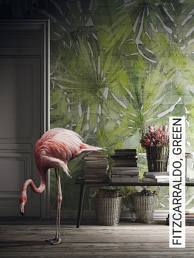 FITZCARRALDO,-GREEN-Blätter-Florale-Muster-FotoTapeten-Grün-Creme