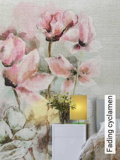 Fading-cyclamen-Blumen-Blätter-Florale-Muster-FotoTapeten-Rosa-Anthrazit-Hellgrün