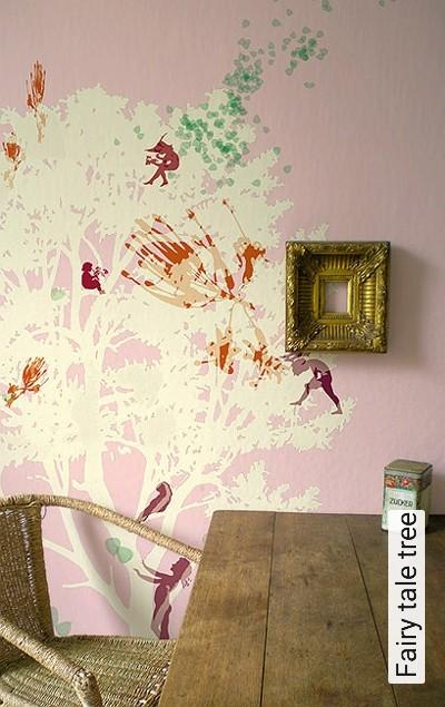 Fairy-tale-tree-Bäume-Figuren-Moderne-Muster-Rosa-Multicolor